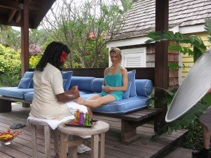 Having nails done in Nevis